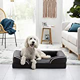 BrindleOrthopedic Memory FoamPet Bedwith Wrap Around Bolster- Plush Dog and Cat Bed-Removable VelvetCover, Extra Large, Charcoal