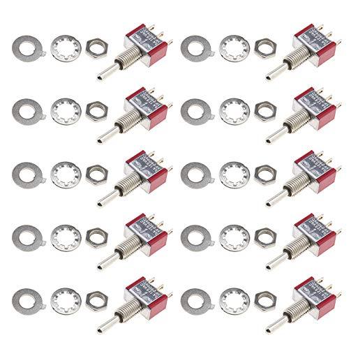 10 miniinterruptores basculantes MTS 123 de 3 polos SPDT de 3 pines, terminales de 5 A, 125 V CA, 3 A, 250 V CA, orificio de 6 mm
