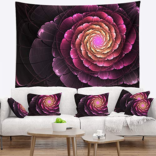 Designart Fractal Light Purple Digital Flower Tapestry Blanket D Cor Wall Art For Home And Office Created On Lightweight Polyester Fabric Large 60 In X 50 In Shefinds