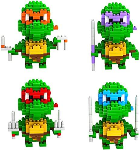 RSVT Teenage Mutant Ninja Turtles 3D Puzzle, 4 Action Figure Nano Building Blocks, DIY Building Educational Toys, Gift for Boy Or Girl