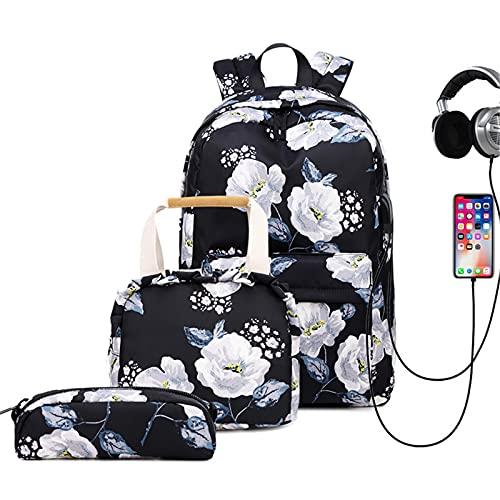 ANMJJ Computadora Mochila para Adolescentes,Impermeable Mochila Portatil con Puerto de USB Grande Daypack Ambulante,para Los Estudios,Viajes O Trabajo,Negro