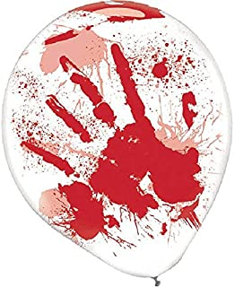 "amscan Blood Splatter Balloons | Halloween Décor, 12"", 6 Ct. White/Red"