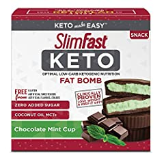 Pantry friendly & shelf stable Contains 14 individually wrapped SlimFast Keto low-carb ketogenic fat bombs that are 1g Net Carbs per serving. With zero added sugar and coconut oil MCTs, these Slim-Fast Keto fat bombs are the no-compromise, keto-frien...