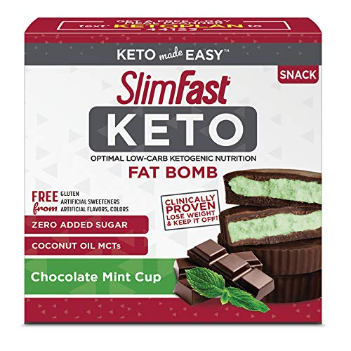 SlimFast Keto Fat Bomb Snacks - Mint Cup - 14 Count Box - Pantry Friendly