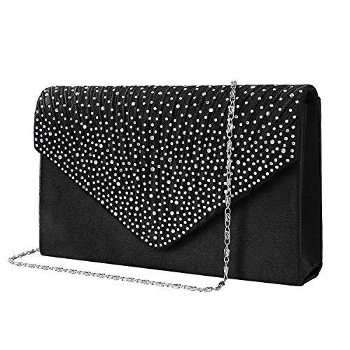 Bolso de Fiesta Noche Mujer Embrague Cartera de Mano de Satén para Mujer Diamantes, Bolsa de Cadena del Monedero para Boda y Baile, Bolsas de Hombro, Negro