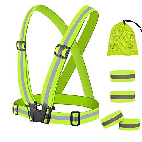 Vegena Reflektorweste Running Sicherheitsweste mit 4 Stück Reflektorbänder, Einstellbar Elastische Sicherheitsweste Reflektierendes Armband Set, Atmungsaktiv Leicht Fahrrad Warnweste für Laufen Joggen