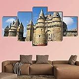 QQQAA 5 Piezas De Lienzo Castillo de vitr en bretaña Francia Póster Imagen Pintura Sala Decoración Impresión Póster Arte De La Pared Marco 150 x 80 cm