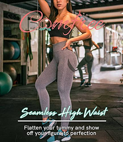 COMFREE Leggings Mujer Mallas Deportivos Leggins Push Up Leguins Pantalones Yoga Legins Deporte Fitness Pantalón Cintura Alta Control de Barriga EláSticos Gris M