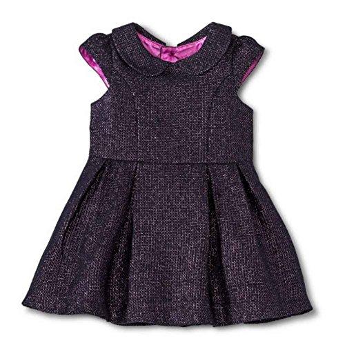 CHEROKEE Infant & Toddler Girls Black & Purple Glitter Party Dress Holiday 18m