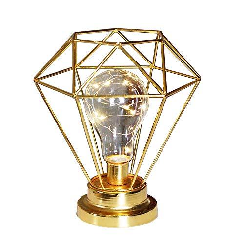 Metall Tischlampe,SUAVER Diamond Form Nachttischlampe Stehlampe,Batteriebetrieben Nordic Style Eisen Schreibtischlampe kreative Nachtlicht dekorative Beleuchtung für Schlafzimmer, Hotel (Gold)