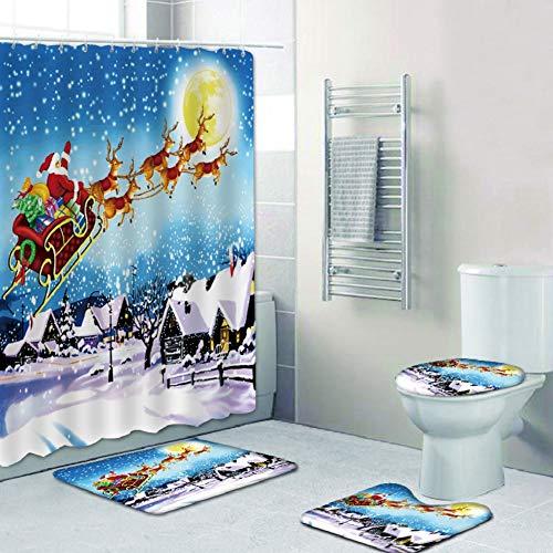 Frohe Weihnachten Duschvorhang-Sets, rutschfester Teppich, Toilettendeckel & Badematte, Santa Duschvorhang mit 12 Haken für die Weihnachtsdekoration