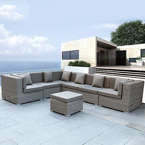 Y & Z 7PC RATTAN SOFA GARDEN FURNITURE OUTDOOR SET WICKER SOFA SET SEATER FIRE RESISTANT Sponge Gray Patio Furniture…