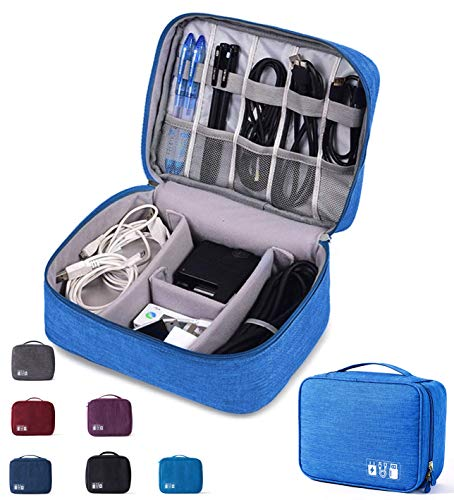 Electronic Organizer Travel Universal Waterproof Carrying Case Cable Organizer Electronics Accessories Cases for Cable, Charger, Phone, USB, SD Card (Blue)