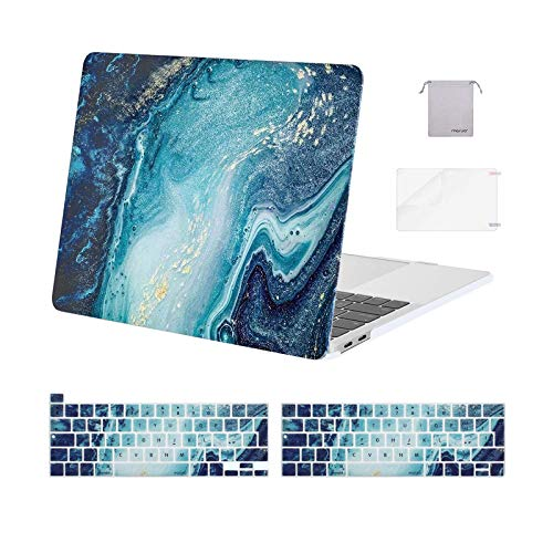 MOSISO Compatible with MacBook Pro 13 inch Case 2016-2020 A2338 M1 A2289 A2251 A2159 A1989 A1706 A1708, Plastic Creative Wave Marble Hard Shell Case &Keyboard Cover &Screen Protector&Storage Bag, Blue