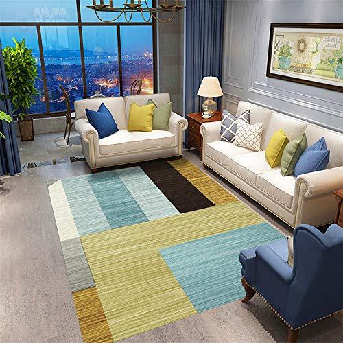 DJHWWD Hygroscopisch, elegant vloer, tapijt, blauw, geel, brede strepen, ontwerp van zacht antislip, duurzaam vloerkleed