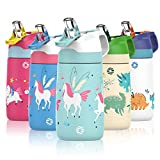 FEIJIAN FJbottle 13 oz Patent Design Insulated Kids Water Bottle with Straw Lid and Silicone Protective Cover, AirFree Vent Technology Care for Kids, BPA Free, Multiple Colors (Winter Unicorns/12 oz)