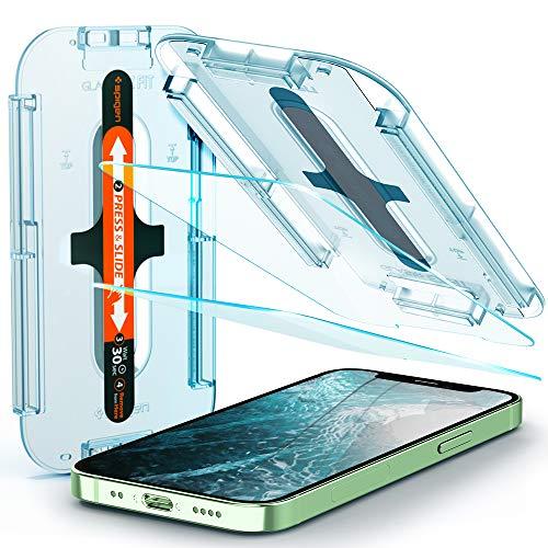 Spigen Glas.tR EZ Fit Panzerglas kompatibel mit iPhone 12 Mini, 2 Stück, Kratzfest, 9H Härte Schutzfolie