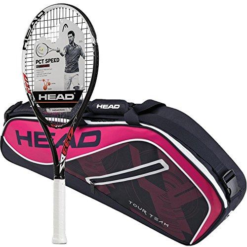 Head PCT Speed fertig bespannt Schläger, Bundle mit einer Tour Team Tennis Tasche, Pro Bag - Navy/Pink