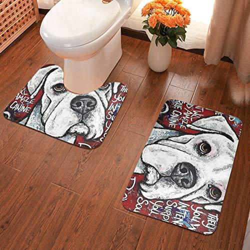 John J Littlejohn Non Slip Boxer Dog Art Bathroom Antiskid Pad Bathmat Waterproof Bath Carpet Floor Rug 2 Pieces Pads Bath Mat + Contour