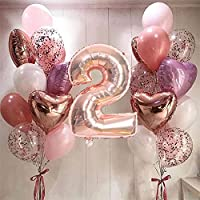 CHBOEN Balloon 21ピース32インチナンバーホイルの風船ラテックス紙吹雪ヘリウム風船の結婚式の誕生日パーティーの装飾用品ベビーシャワー (Color : Rose gold 2)