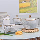 HKX Tea Set Marble Pattern Ceramic Coffee Cup And Saucer Set Teapot Afternoon Tea Flower Tea Cup Ceramic Tea Sets (Color : Pink, Size : One size)
