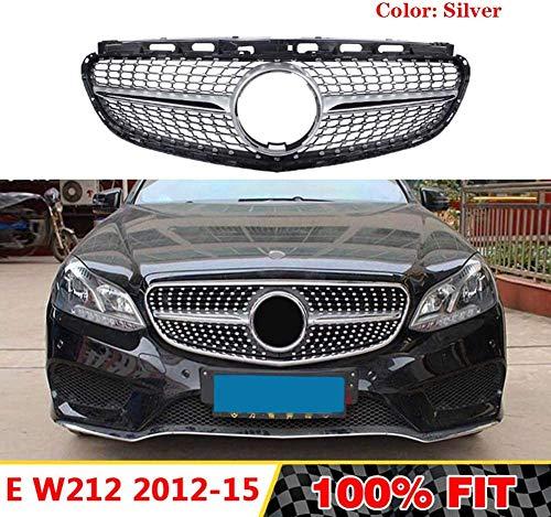 HYNB Diamond Grille Voorbumper Grill Racing Grille Voor Mercedes Benz E-Klasse W212 E200 E280 E300 E250 E300 E350 2012-2015, Zwart, Zilver
