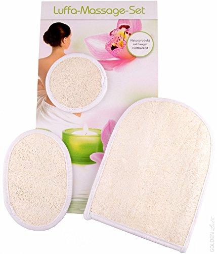 Luffa-Massage-Set Lot de 3 éponges de massage et peeling