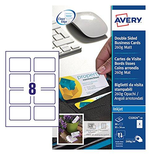 Tarjetas de visita con bordes redondeados Se pueden imprimir en la parte frontal o posterior Cartón satinado, gramaje 270 gr/m2
