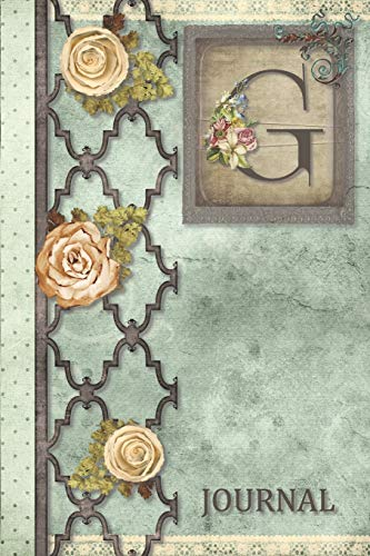 G Journal: Vintage Shabby Roses Journal, personalized monogram initial G blank lined notebook | Decorated interior pages