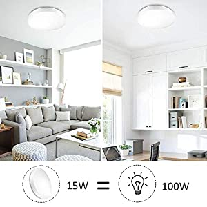 Ustellar Waterproof 12W LED Ceiling Lights, 11in, 100W Incandescent Bulbs Equivalent, IP44, 950lm, Lighting for Bathroom, Kitchen, Hallway, Flush Mount Ceiling Light, 6000K Daylight White