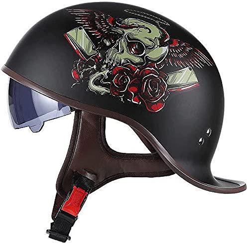 XRDSHY Cascos Half-Helmet Moto Hombre Mujer Adulto Vintage Retro Abiertos Medio Huevo Semi Integral Cascos con Aprobado Dot/ECE Jet Scooter Ciclomotor Casco con Visera Parasol Retráctil,B-M(57~58cm)