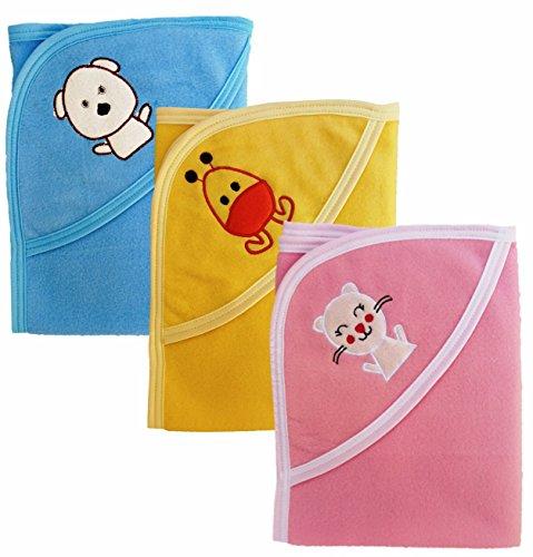 Brandonn Polar fleece Premium Hooded Blanket Cum Wrapping Sheet for Babies (Multicolor, 3 Pieces, 26inchx29inch) 0-4 Months