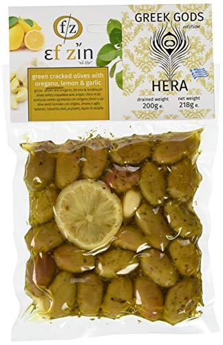 Ef Zin Griechische Grüne Oliven mit Zitrone, Oregano und Knoblauch (Hera) in Vakuum Packung 200 g, 2er Pack