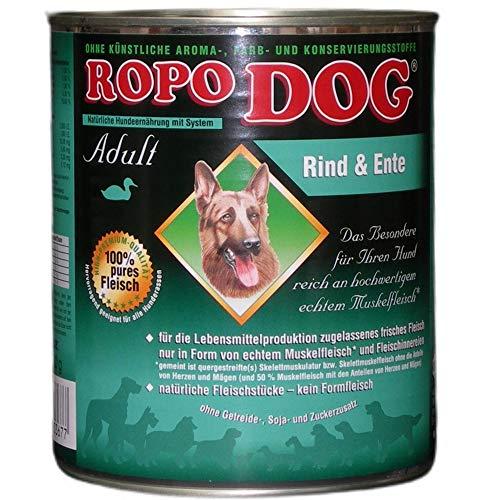 RopoDog Hundefutter Nassfutter - Rind & Ente (1 x 800 g)