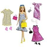 Barbie Fashionistas GDJ40 - Juego de muñeca Rubia y Ropa y Accesorios para 4 Trajes completos