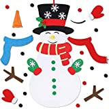 Max Fun DIY Felt Snowman Games Set with 3 Style Modes 38PCS Detachable Ornaments Wall Hanging Xmas Gifts for Christmas Decorations (Snowman)
