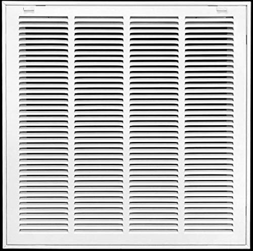 """20"""" X 20"""" Steel Return Air Filter Grille for 1"""" Filter - Removable Face/Door - HVAC Duct Cover - Flat Stamped Face - White [Outer Dimensions: 22.5 X 21.75]"""