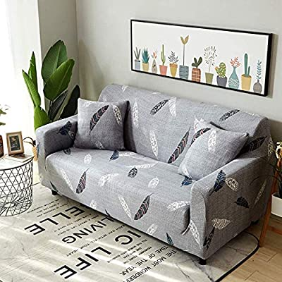 Ihoming Stretch Sofa Cover Printed Sofa Slipcover Couch Cover with Two Free Pillow Case, Furniture Protector for Dogs, Children, Pets (Feather, Sofa-3seat)