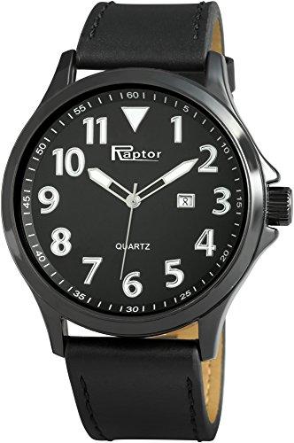 Raptor Herren-Uhr Oberseite Echtlederarmband Datumsanzeige Quarzwerk RA20081-007