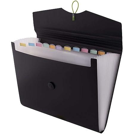 D.RECT 5580 Carpeta de archivos extensible A4 | Acordeón Carpeta Clasificadora de documentos con 12 Compartimentos | Carpeta de Acordeon | Negro