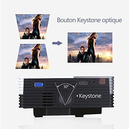 crenovaà XPE350Proiettore Portatile Mini Risoluzione 480* 320, 150Lumen Proiettore protezione Oculare con càble HDMI gratuita per Home Cinema Backyard collegato con TV, Laptop o desktop, Console di gioco, Media Player, SD Slot supporto anche iPad,