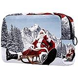 Rojo Papá Noel montando un trineo de madera Bolsas de maquillaje portátiles bolsa de cosméticos impresa, bolsa de cosméticos para mujeres bolsa de viaje