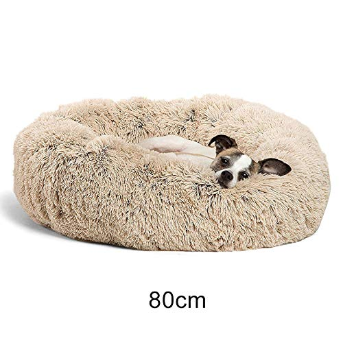 Glomixs Shag Plush Donut Cuddler Cats Bed Comfortable Calming Round Dog Puppy Mat Sleeping Nest for Deluxe Pet Bed for Cats and Small Medium Dogs, Soft Cushion Round or Oval Donut Nesting Cave Bed