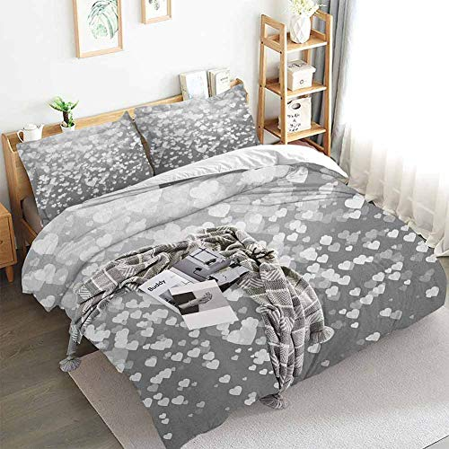 Aishare Store Love Duvet Cover Set,Abstract Artwork with Hearts Silhouette Sunshines Marriage Passion Valentines Print,Decorative 3 Piece Bedding Set with 2 Pillow Shams,King(104'x90') Dimgrey White
