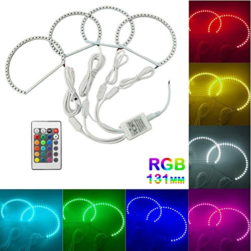 VIGORFLYRUN PARTS LTD 4pcs/Satz Auto LED COB Angel Eye Halo Ring Kit Lichter Lampe mit Fernbedienung Für E46, Super Bright RGB Color 131mm x4