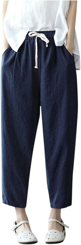 WOCACHI Linen Pants for Women Drawstring Elastic Solid Milwaukee Mall Bag Oakland Mall Waist