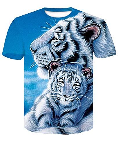 XYL HOME T-shirt met 3D-print van uniseks, persoonlijkheid, casual wit, tijger, grafisch T-shirt met korte mouwen