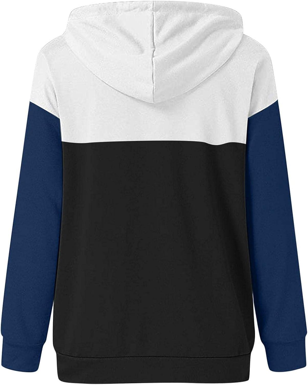 Eduavar Hoodies for Women,Womens Fashion Color Block Pocket Pullover Hoodie Long Sleeve Drawstring Hoodie Sweatshirts