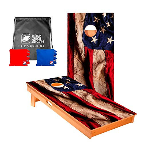 ACA American Cornhole Association - 2x4 Star Patriotic Professional Cornhole Boards - American Flag Cloth with Corn Filled red and Royal Bags and Nylon Tote