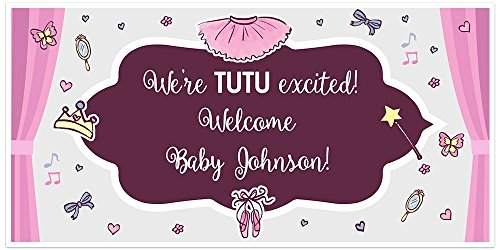 Tutu Ballerina Baby Shower Banner Personalized Party Decoration Backdrop